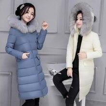 Plus Size 2016 Fashion Winter Faux Fur Collar Jacket Women Slim Long Down Cotton Thicken Jacket