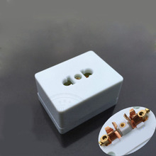 Surface mounted dual-use two-pole socket, two flat pin hole  a white mobile power socket 10A