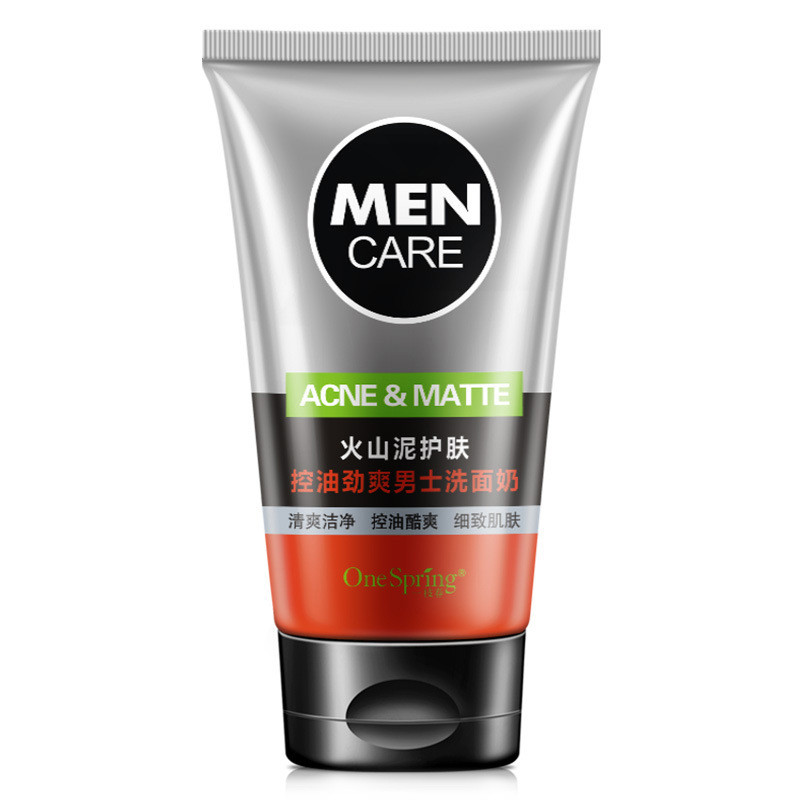 OneSpring Men Deep Cleansing Skin Care Facial Cleanser Whitening Acne Matte Blackhead Face Care Exfoliating Cleanser