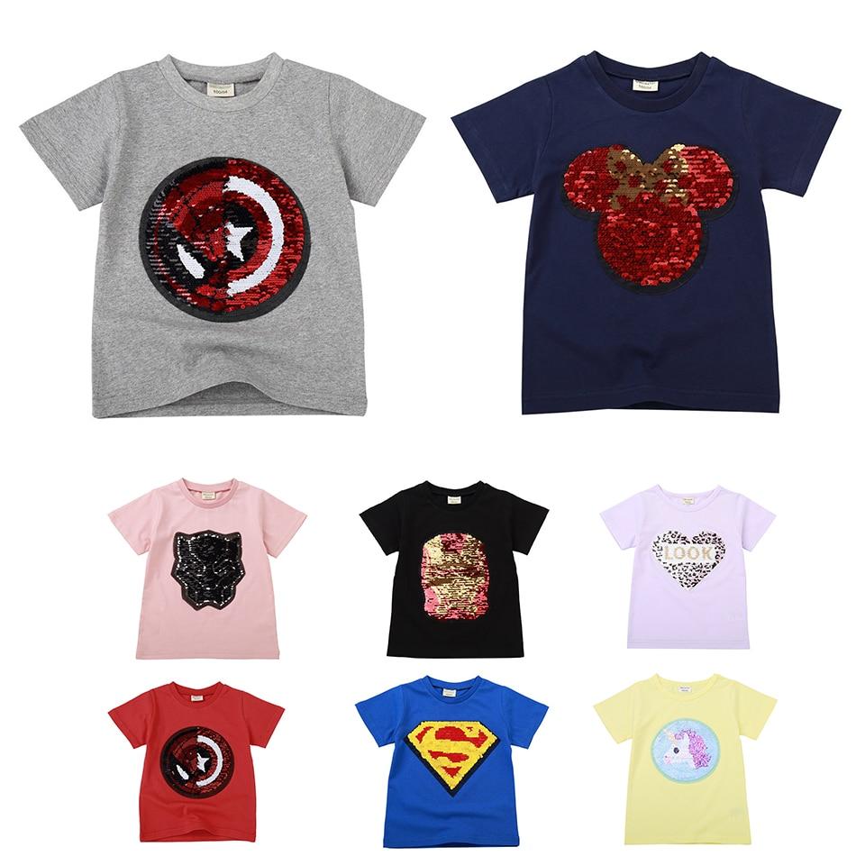 2021 летняя детская футболка для мальчиков, двусторонние футболки с блестками супергероев для маленьких девочек, Детская футболка с единорог...