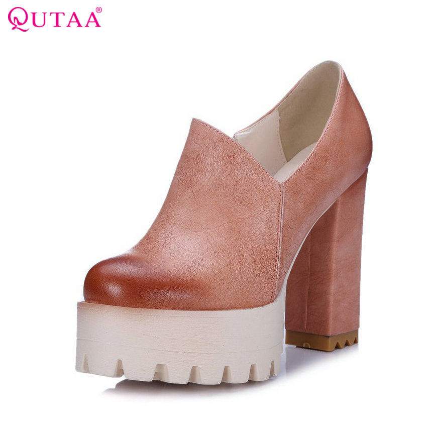 QUTAA PU leather Beige Ladies Shoes Woman Shoes Platform Woman Pumps Zipper Square High Heel Women Wedding Shoes Size 34-42 стоимость