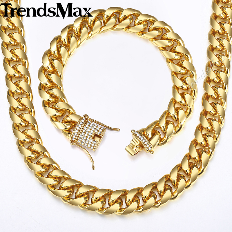 Mens Jewelry Sets Gold Miami Curb Cuban Link Chain Bracelet Necklace Set For Men Hip Hop Iced Out CZ Jewelry Gifts 14mm KGS284 8mm 10mm 12mm 14mm stainless steel miami curb cuban bracelet mens hip hop thick gold filled cuban link heavy bracelet 23cm