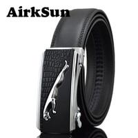 AirkSun 2017 Fashion 140cm Big Size Black Mens Gold Silver buckle Designer Belts For Luxury Genuine Leather Belt Men cinturon
