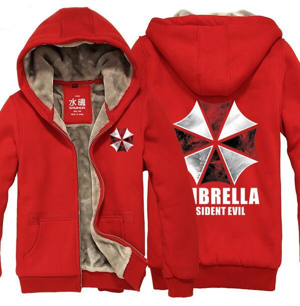 590515ea0 New Winter Coat Resident Evil Umbrella Hoodies BIOHAZARD Coat Men and women  thick plush Jacket High quality Sweatshirt