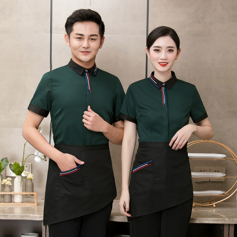 Hotel Waiter Waitress Uniform Tea Coffee Shop Cake Hot Pot Shops Work Clothes Short Sleeve Restaurant Breathable Overalls H2225