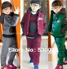 2014 новая коллекция весна мальчики девочки дети зима хлопок детские спортивный костюм куртка свитер пальто брюки сгущаться детская одежда набор