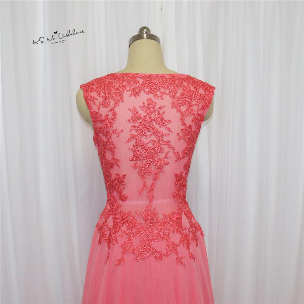 Rosa Coral Encaje Vestidos de baile 2018 formal largo eveniong gasa ...