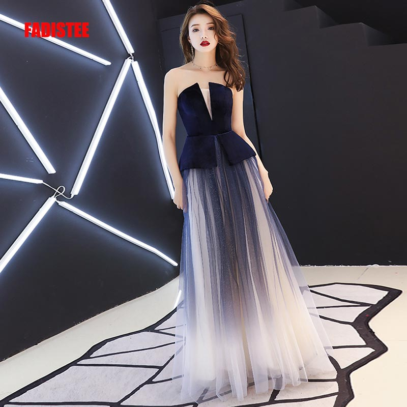 FADISTEE New arrival Vestido De Festa Long   Evening     Dress   Bride Party Prom   Dresses   strapless gradually changing color velour