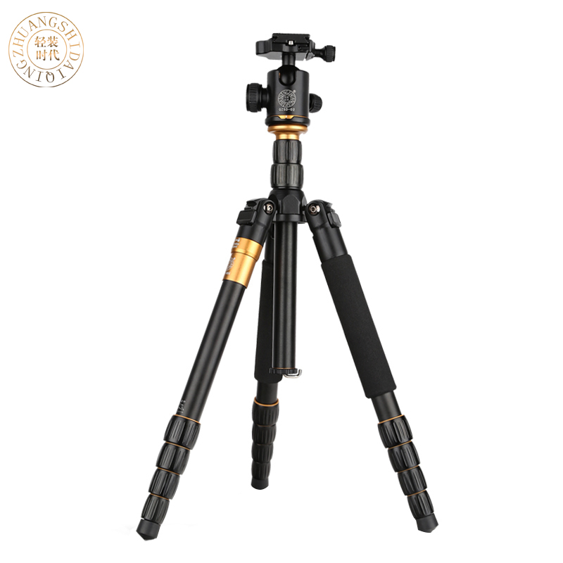 QZSD Q666 Pro Portable Tripod monopod Aluminium Alloy Q 666 For SLR Camera Traveling Load To