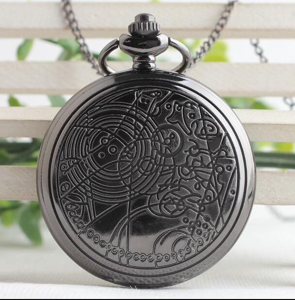Unique Doctor Who Pendant Antique Pocket Watch Mens Women Steel Quartz Fob Watches Vintage Necklace Chain Clock Gifts