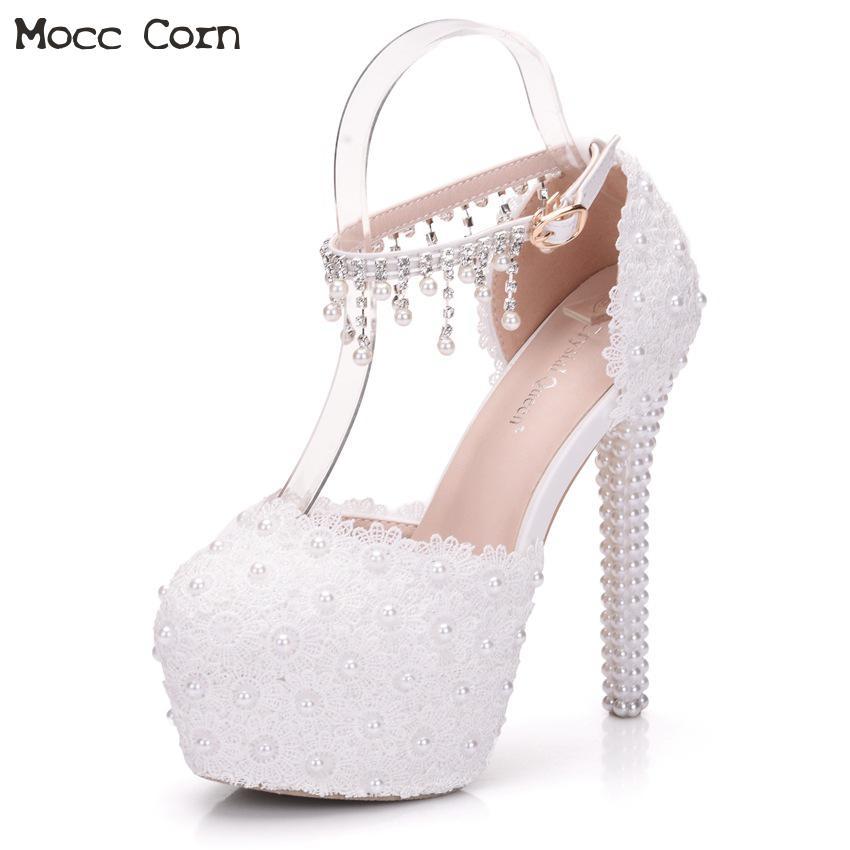 Blanc cristal fleur chaussures de mariage femmes talons hauts doux pompes robe de mariée chaussures perles Sexy femmes fête mariage chaussures de mariée