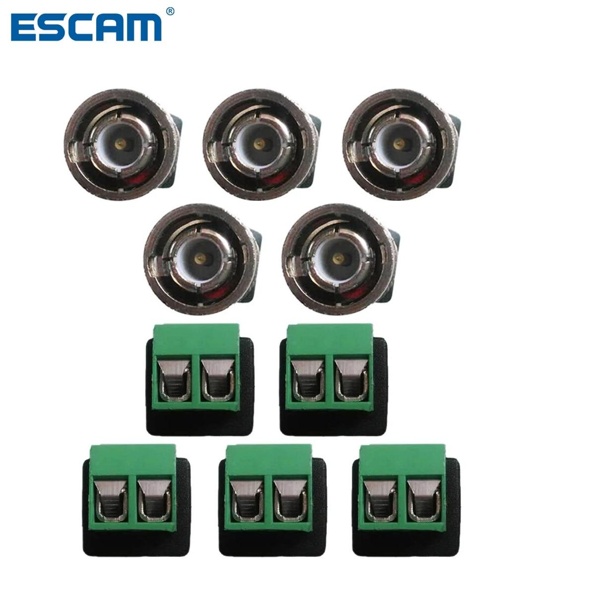 ESCAM 10pcs/lot Mini Coax CAT5 To Camera CCTV BNC Video Balun Connector Adapter POE cctv tester IP camera FC