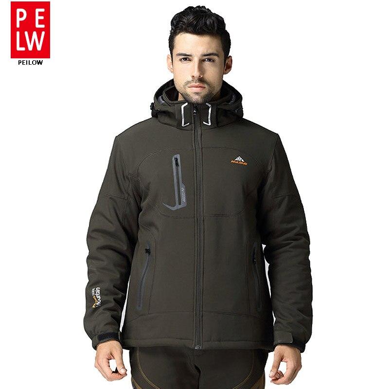 Winter Men soft shell fleece hiking jacket snow waterproof jacket skiing windproof outdoor clothing camping jacket classic coat