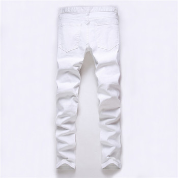 2018 new fashion high street men's jeans zipper knee knocked ragged hole male club denim fabric elastic skinny ripped trousers 1