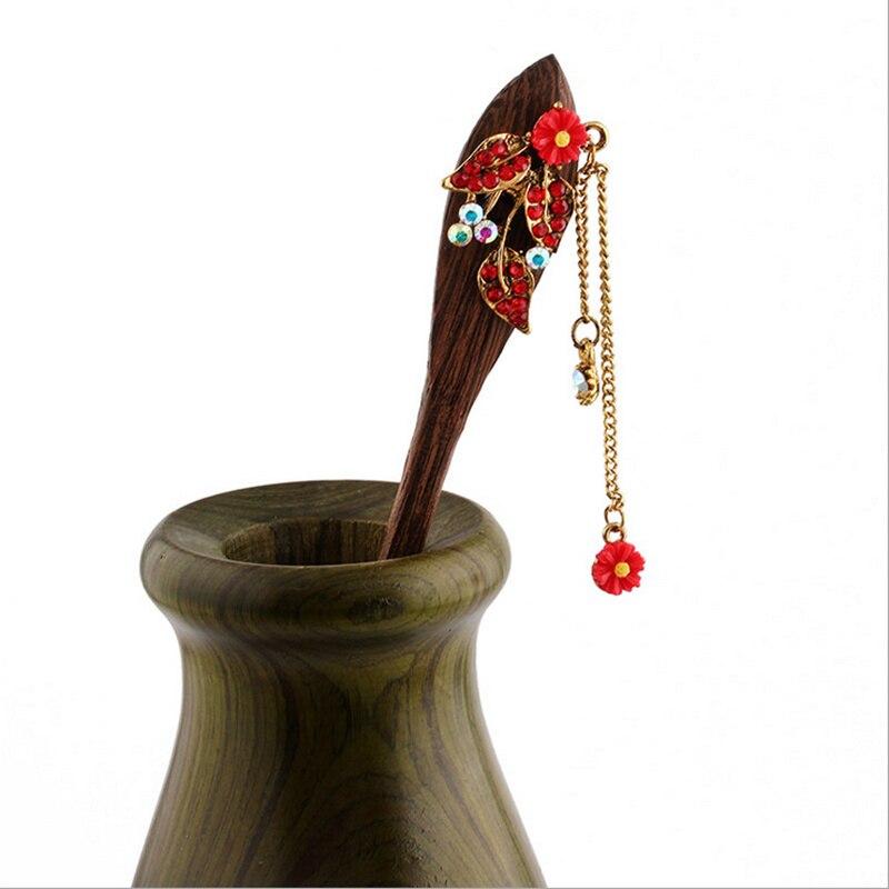 2017 Retro national winds Leaf shape natural Phoebe zhennan Zircon Hair sticks Chinese style Fashion jewelry For women nmfz-010