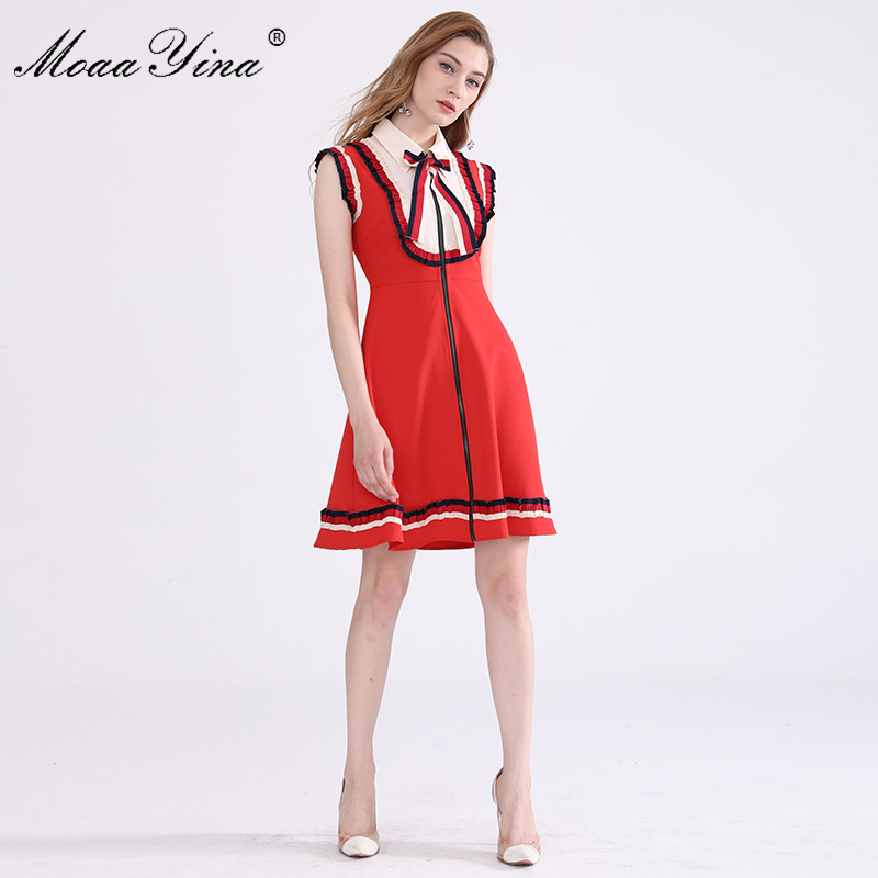 MoaaYina 2018 Fashion Designer Dress Summer Women Turn down Collar Bowknot Ruched Casual Holiday loveliness Elegant