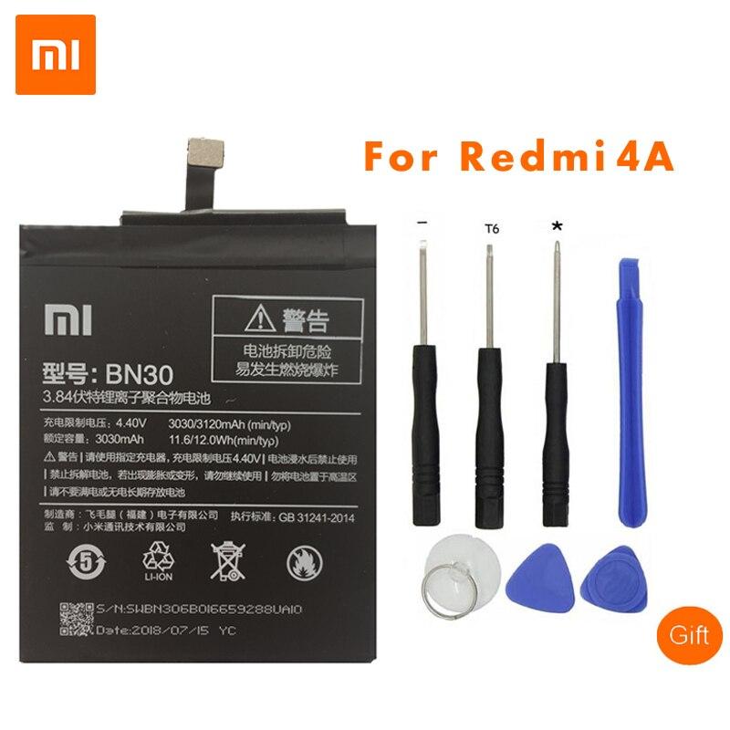 D'origine Xiaomi BN30 Batteries de Téléphone Portable Pour Xiaomi Redmi 4A Haute Qualité 3120 mah Redrice 4A Hongmi 4A Batteries De Remplacement