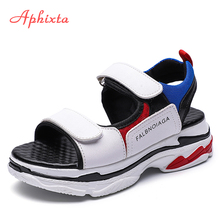Aphixta Platform Wedge Sandals For Women Hook & Loop Fashion