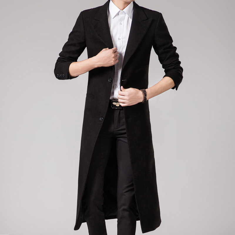 2017 New Long Trench Men Wool Trench Coat Men Slim Fit Overcoat ...
