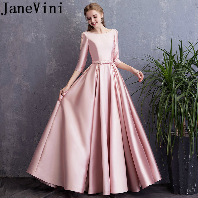 JaneVini 2019 Elegant Long   Bridesmaid     Dresses   with Pockets Blush Pink Scoop Neck Pearls Satin A Line Backless Prom Party Gowns