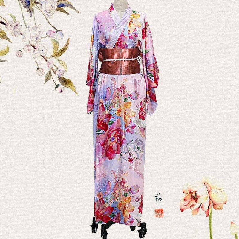 Nouveau femmes traditionnel japonais Kimono femme imprimé fleur Cosplay Costume scène Performance vêtements nouveauté dame robes de soirée