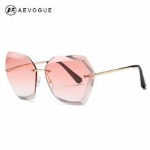 Aevogue солнцезащитные очки для женщин cat eye без оправы алмазные линзы марка модельер оттенки солнцезащитные очки с коробкой ae0534