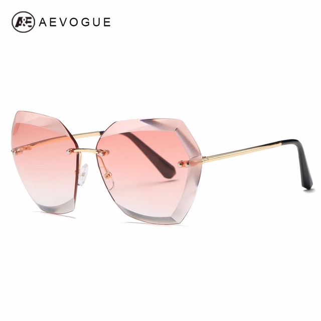90a66b5d14b AEVOGUE Sunglasses For Women Cat Eye Rimless Diamond cutting Lens Brand Designer  Fashion Shades Sun Glasses