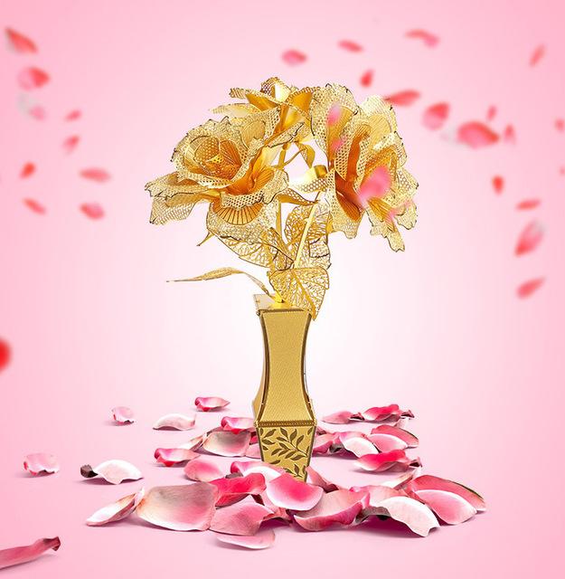 Golden Rose flor modelo de cor de ouro 3D DIY modelo educacional DIY brinquedos quebra-cabeça de corte a laser melhores presentes de aniversário