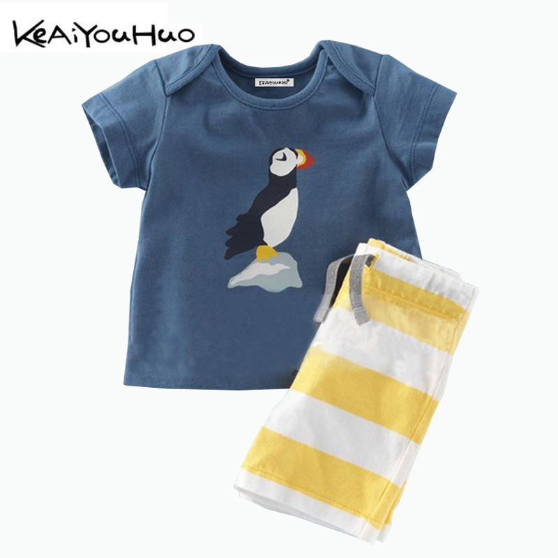 KEAIYOUHUO Summer Boys Clothes New Products 2018 Sailing Clothing T-shirt+Shorts Stripe Set Kids Print Suits Children Clothing 2017 new boys clothing set camouflage 3 9t boy sports suits kids clothes suit cotton boys tracksuit teenage costume long sleeve