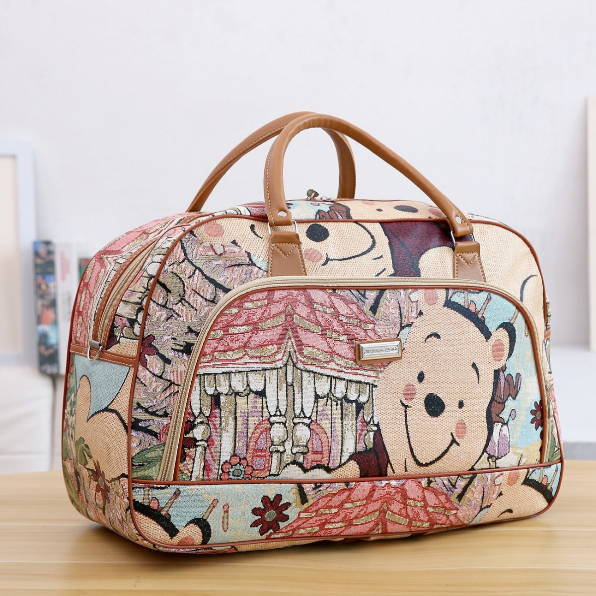 Women Hand PU Leather Travel Duffle Bags Pu Leather Weekend Bag Winnie The Pooh Cartoon Large Waterproof Travel Bag