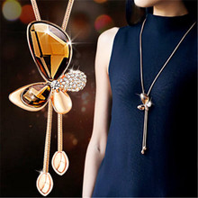 Lemon Value Fashion Luxury Statement Crystal Butterfly Pendants Rhinestone Tassels Long Necklaces Women Wedding Jewelry A286