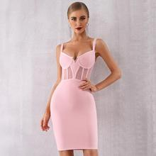 Newest Summer Celebrity Evening Party Bodycon Bandage Dress Women Spaghetti Strap V-Neck Sexy NightClub Vestidos