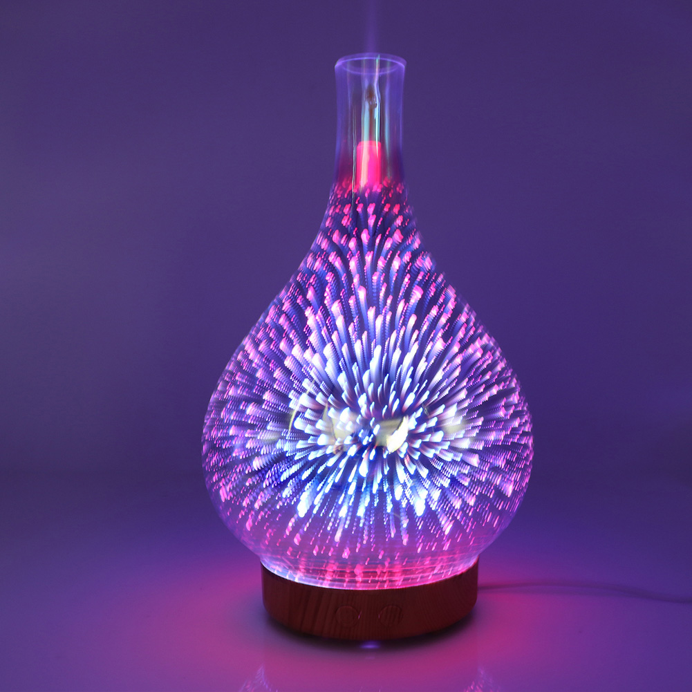 3D Glass Fireworks Pattern Air Humidifier Aroma Essential Oil Diffuser With LED Night Lights Air Purification Home Mist Maker|  -