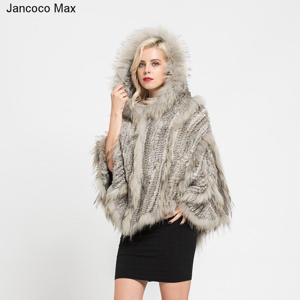 Новое поступление реальный кролик и енота Вязаное пончо натуральный меховые шапки Женская мода Стильные шали зима S7182