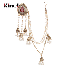 Kinel Indian Jewelry Earring link Headdress For Women 1Pcs Antique Gold Pearl Tassel Earrings Mosaic Crystal Party Retro Jewelry