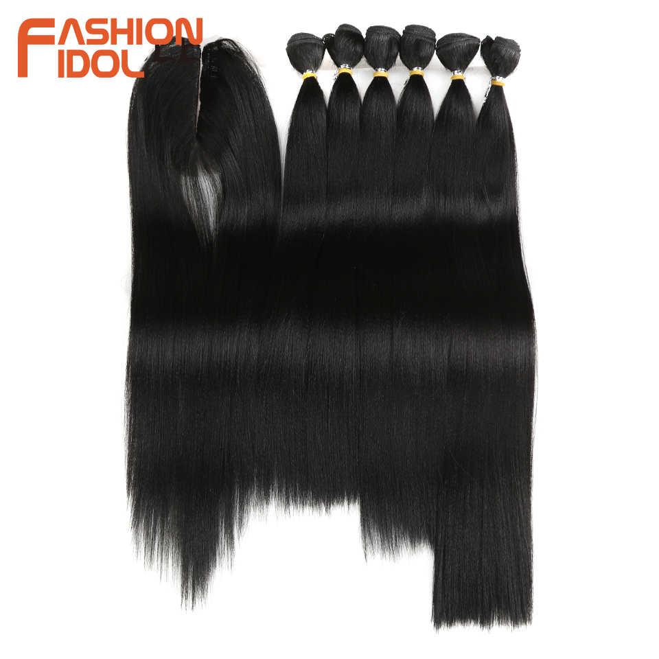 Модные IDOL прямые волосы Yaki пучки 7 шт./упак. 16-20 дюймов Омбре 250 г синтетические волосы пучки с закрытием плетение наращивание волос