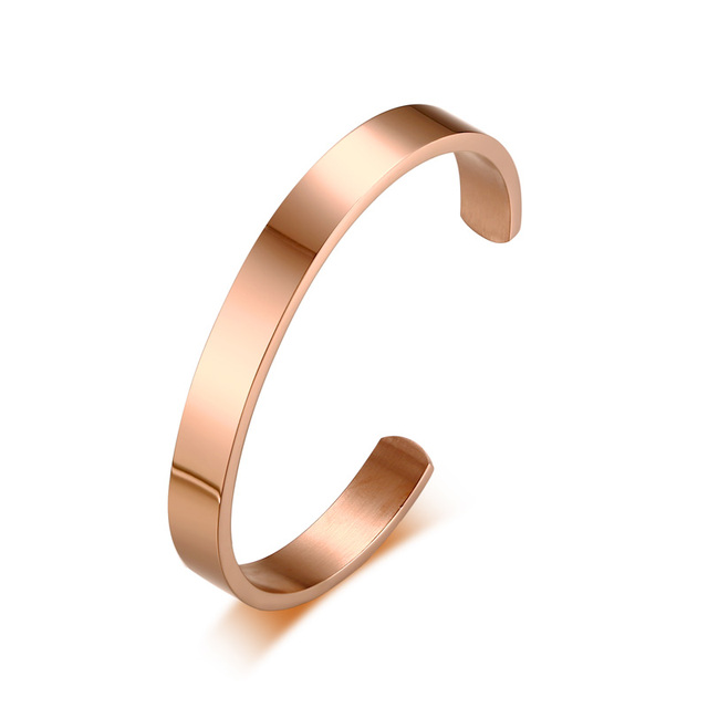 424453cf6b8 Personalized Customized 8MM Men Women Cuff Bracelet in Rose Gold Color Stainless  Steel Male Female Open Bangle for Men Jewelry