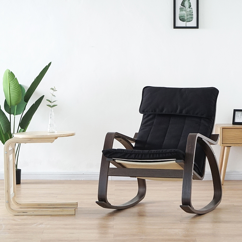Comfortable Relax Wood Adult Rocking Chair Armchair Black Brown Finish Living Room Furniture Modern Recliner Rocker Chair Wooden