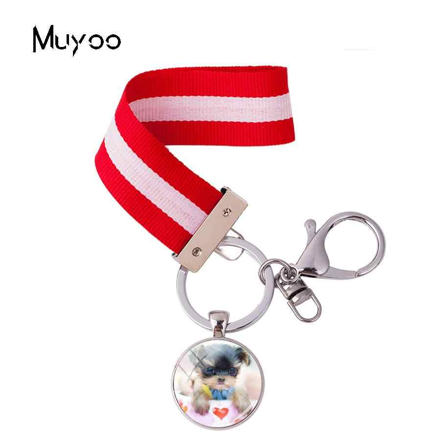 2018 חדש עיצוב כוס גור סרט Keyrings קטן לחיות מחמד כלב סרט מחזיקי מפתחות Keyrings עבור אישה תיק זכוכית כיפת תכשיטים