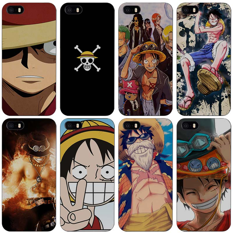 One piece anime Hard Black Plastic Case Cover for iPhone Apple 4 4s 5 5s SE 5c 6 6s 7 7s Plus