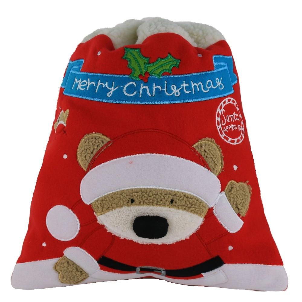 Santa Bag Santa Sack  Candy Bag with Bear Pattern Santa Claus Gift Bag