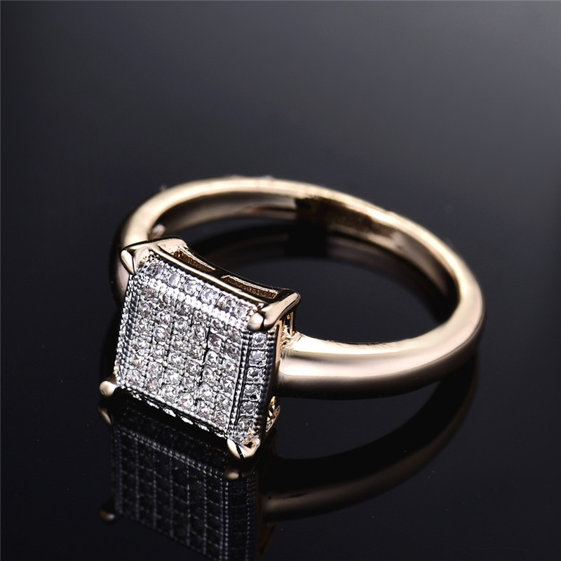 BUDONG Infinity Ring para mujer Valentine Fashion Large Square Gold - Bisutería - foto 5