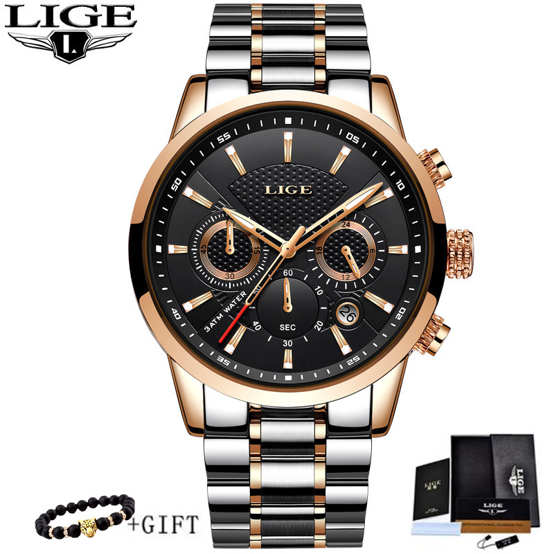 2018 New LIGE Watches Men Brand Luxury Chronograph Men Sports Watches Waterproof Full Steel Quartz Men Watch Relogio Masculino2018 New LIGE Watches Men Brand Luxury Chronograph Men Sports Watches Waterproof Full Steel Quartz Men Watch Relogio Masculino