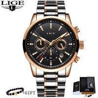 2020 Neue LIGE Uhren Männer Marke Luxus Chronograph Männer Sport Uhren Wasserdicht Voller Stahl Quarz Männer Uhr Relogio Masculino