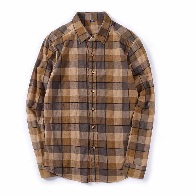 新しい格子縞のシャツメンズロングスリーブコントラストブランド起毛シャツポケットスリムフィット快適なビジネスカジュアルシャツ男性プラスm626