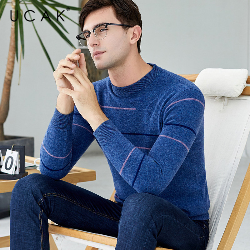 UCAK Brand Merino Woolen Sweater Men Streetwear Fashion Striped O-Neck Pull Homme Autumn Winter Warm Cashmere Pullover Men U3039