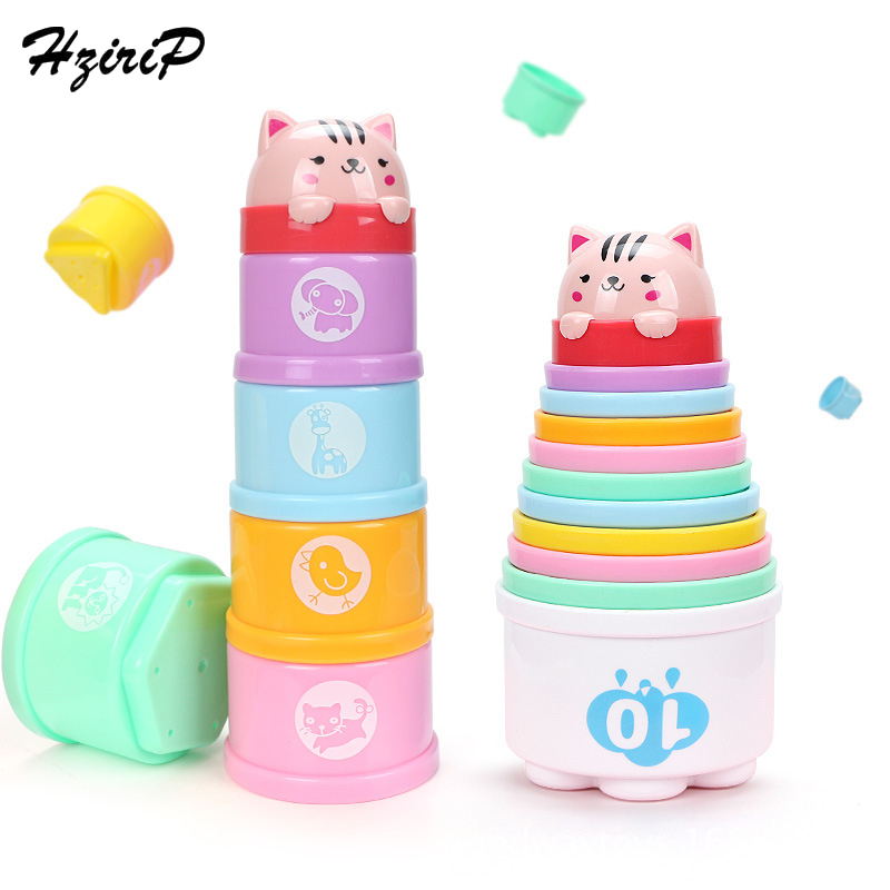 Hzirip 8PCS Educational Baby Toys 6 Month+ Figures Folding Stack Cup Tower Children Early Intelligence Educational Toys For Kids