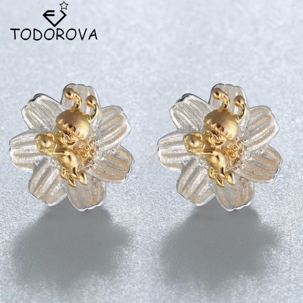 Todorova Fashion Women Gold Little Bee On Flowers Stud Earrings Pure 925  Sterling Silver Jewelry Stud