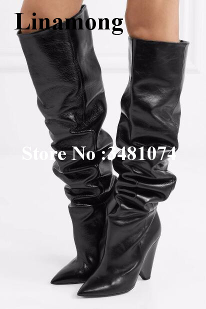 Women New Design Sexy Boots Knee High Pointed Pleated And Solid Black Women Leisure T-stage Knee High Slip-On Spike Heels Boots british style women s knee high boots with solid color and ruffle design