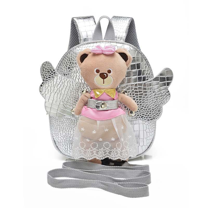 Cute Angel Bear Anti lost School Bags For Girls Leather PU Baby Girl Backpack Kindergarten Bags